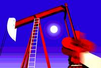 Red Oil Well Pump-Dramatic Industry Oilfield Art