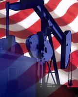 American Flag Oil Gas Industry- Well Pump Oilfield