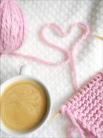 coffee and light pink Valentines knit