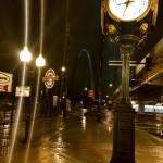 """Clock on a street, night view, street view"" by citrons"