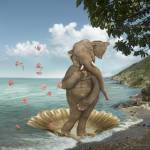 """Elephant Parody of the Birth of Venus"" by StephanieDRoeser"