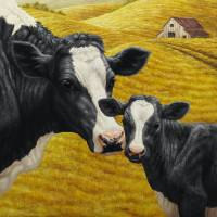 Holstein Cow and Calf Farm Art Prints & Posters by Crista Forest