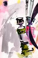 Paint Tubes Modern Still Life Watercolor and Ink