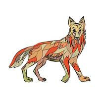 Coyote Side Isolated Drawing