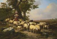 Verboeckhoven. Eugène - A SHEPHERDESS WITH HER FLO