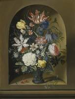 Jacob Marrel, STILL LIFE OF FLOWERS IN A NICHE WIT