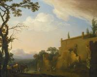 Jan Asselijn AN ITALIANATE LANDSCAPE WITH PEASANTS