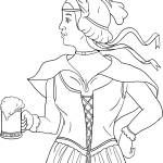 """German Barmaid Serving Beer Drawing"" by patrimonio"
