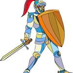 """Knight Full Armor With Sword Defending Mosaic"" by patrimonio"