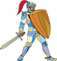 Knight Full Armor With Sword Defending Mosaic