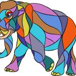"""Angry Elephant Walking Mosaic"" by patrimonio"