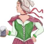 """German Barmaid Serving Beer Watercolor"" by patrimonio"