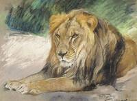 GÉZA VASTAGH (HUNGARIAN, 1866-1919) A LION AT REST