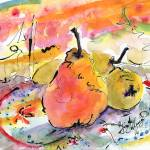 """Pears Provence with Calligraphic Ink Work"" by GinetteCallaway"
