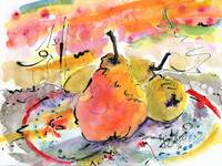 Pears Provence with Calligraphic Ink Work