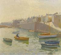 Harold Harvey 1874-1941 MORNING, NEWLYN HARBOUR
