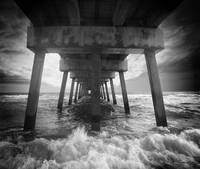 Juno Beach Pier Sunrise Seascape Black and White 8