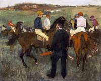 EDGAR DEGAS (1834 - 1917) - RACEHORSES (LEAVING TH