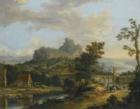 Johann Christian Vollerdt RIVER LANDSCAPE WITH TRA