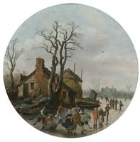 Jan Josefsz van Goyen, WINTER LANDSCAPE WITH SKATE