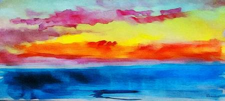 C2 Abstract Expressive Sunrise Watercolor Painting