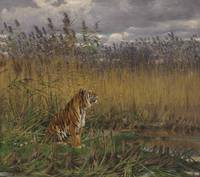 Géza Vastagh (Hungarian, 1866-1919) A Tiger in a L