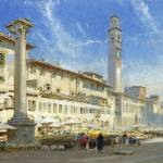 """Albert Goodwin - The flower market in the Piazza d"" by motionage"