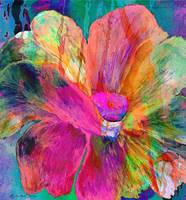 Abstract Mixed Media Floral Painting 007