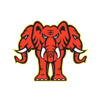 Three Headed Elephant Standing Retro