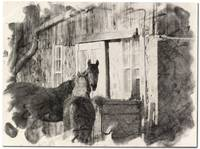 Horses in charcoal