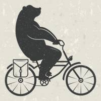 Bear Riding Bike Hipster