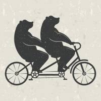 Bears Riding Tandem Bike Hipster