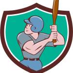 """Baseball Player Batting Crest Cartoon"" by patrimonio"