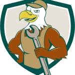 """American Bald Eagle Mechanic Spanner Crest Cartoon"" by patrimonio"
