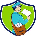 """Mailman Deliver Letter Crest Cartoon"" by patrimonio"