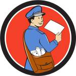 """Mailman Deliver Letter Circle Cartoon"" by patrimonio"