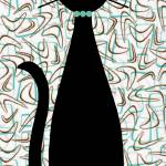 """Boomerang Cat in Aqua and Brown"" by DMibus"