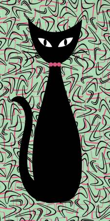 Boomerang Cat in Pink and Green