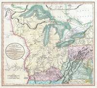 Vintage Map of The Great Lakes & Midwest (1801)