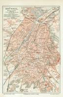 Vintage Map of Brussels Belgium (1907)