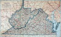 Vintage Map of Virginia and West Virginia (1921)