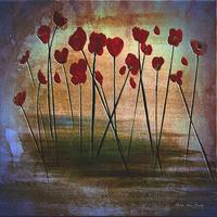 Expressive Floral Red Poppy Field 725