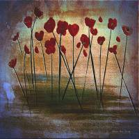 """Expressive Floral Red Poppy Field 725"" by MasArtStudio"