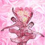"""Pink Rose Heart Dance Painting"" by IrinaSztukowski"