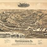 """Vintage Pictorial Map of Waynesboro VA (1891)"" by Alleycatshirts"