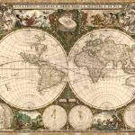 """Vintage Map of The World (1660)"" by Alleycatshirts"