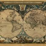 """Vintage Map of The World (1664)"" by Alleycatshirts"