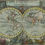 """Vintage Map of The World (1682)"" by Alleycatshirts"