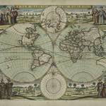 """Vintage Map of The World (1702)"" by Alleycatshirts"