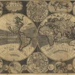 """Vintage Map of The World (1702) 3"" by Alleycatshirts"